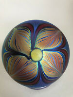 Early Tiffany Style Floral Lundberg Paperweight 1974 signed / dated