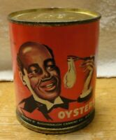 ANTIQUE 20s BLACK AMERICANA SMALL OYSTER TIN CAN with ORIGINAL PAPER LABEL EC