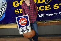 Vintage 70's AC Delco Auto Parts Embossed Single Sided Tin Sign GM Chevy Dealer