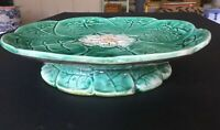 """Antique English Majolica Water Lily Compote With Flower Center Footed Plate 9x2"""""""
