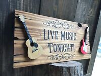 Live Music Guitar Wood Sign Bar Tavern Country Music Rustic Vintage Antique Look