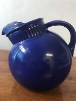 Vintage Pottery Pitcher 1930's Cobalt Blue Tilt Ball Ice Lip