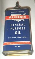 Vintage Lead Top Sears ALLSTATE General Purpose Oil 4 Oz Can #4411 Oiler Tin