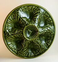 MAJOLICA OLIVE DRAB GREEN OYSTER PLATES by CASA PUPO Portugal - Exc. Condition