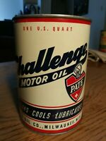 Rare PATE Challenge Motor Oil Quart Can Vintage Old Gas Station Sign Milwaukee