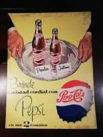 1950's ANTIQUE MEXICAN CARDBOARD ADVERTISING SIGN PEPSI COLA MEXICAN RARE HTF