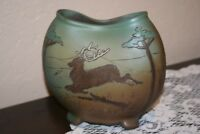 Vintage Weller Dickensware Pottery Vase with Stag