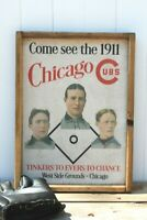 AWESOME Vintage Style Chicago Cubs 1911 Advertisement Wooden Sign