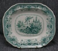 Staffordshire ORIENTAL Pattern OVAL SERVING DISH BOWL - GREEN Transferware - 11