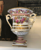 Antique Hand Painted French Porcelain Urn Pink Roses Flowers Gilded