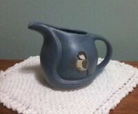 Vintage POD Pottery ... Edgecomb Blue Pitcher / Creamer with Chickadee Bird