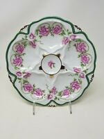 Limoges Oyster Plate ~ Pink Gold Green ~ Floral ~ Excellent Condition