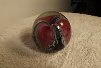 1996 Glass Eye Studio GES Paperweight - Cobalt BLUE & Pink LILY