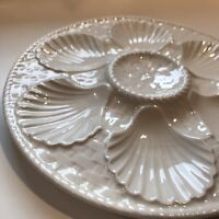 ANTIQUE Majolica FRENCH LONGCHAMP BASKET WEAVE OYSTER 6 SHELL PLATE PEARL WHITE