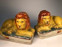 Staffordshire Figural Lion Mantle Set Old Pottery Ceramic Hand painted English