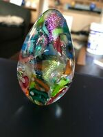 Vintage GES Glass Eye Studio 2001 Iridescent Art Glass Egg Paperweight Signed