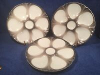Oyster Plate Set of 3 Antique French Majolica Oyster Plates c.1890-1910