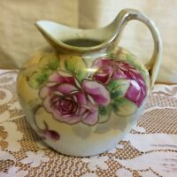 Nippon cream pitcher flowers, beading  good cond.
