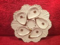 Oyster Plate Antique Cream & Gold Scalloped and Pearled Oyster Plate