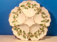 Antique Limoges Oyster Plate Christmas Holly Porcelain Oyster Plate c.1892-1907