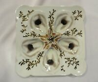 ANTIQUE FRENCH HAND-PAINTED HAVILAND SEAWEED SQUARE OYSTER PLATE
