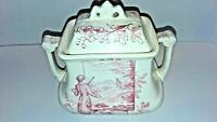 Red and White Transferware Sugar Bowl