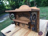 Jack Daniels Wood Bottle Display Shelf Whiskey Bar Antique Look Saloon Tavern