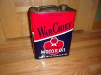 Original War Chief Motor Oil 2 Gallon Metal Can, Gas Station Display, Petroliana