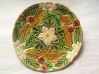 Antique Majolica Plate French Majolica Cherries, Leaves and Flowers PLATE