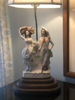 """19TH CENTURY STAFFORDSHIRE FIGURE OF  """"The Harvest"""" MOUNTED AS A LAMP"""