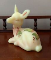 Fenton Burmese Deer/Fawn Figurine Satin Leaves Berries D. Wright