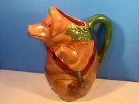 Antique Pitcher French Majolica Pig with Ham c1800's