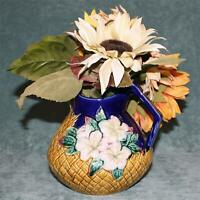 Antique Pineapple Majolica Pitcher with Sunflower Bouquet
