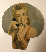 RARE AND BEAUTY ANTIQUE HAND FAN MAYBE MARILYN MONROE ARGENTINA ADVERTISING
