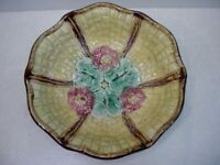 """Antique English Majolica Floral Yellow Basket weave 9"""" Footed Bowl"""