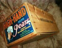 Vintage Wood Fruit Crate HIGH HAND PEARS Mountain Fruit Loomis Calif, with Label