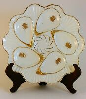 Porcelain Oyster Plate With Gold Accents & Trim - 5 Wells + Sauce Well