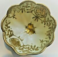 NIPPON NUT BOWLS SET OF SIX GOLD ON WHITE HANDPAINTED