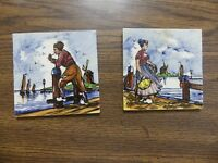 Rare Vtg Delft Tiles Man Woman on dock Ships 4quot; Hand painted Holland
