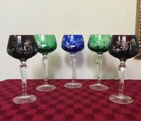 5 Bohemian Crystal Cut Clear Hock Wine Goblets Multi blue red green
