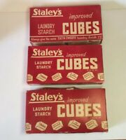 Vtg Advertising STAYLEY'S Improved Laundry Starch Cubes 3 Unopened Red Boxes