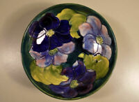 William Moorcroft Pottery Clematis footed bowl with sticker 8 3/8