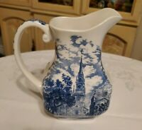 Liberty Blue Historic Colonial Scenes Old North Church England Water Pitcher