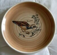 France bird fowl plate  brown HAND PAINTED Sarreguemines Valancay Cournepierre
