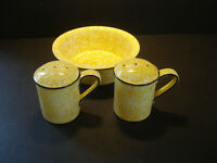 Stangl ~ Town & Country-Yellow ~ Rim Soup Bowl ~ and ~  Salt / Pepper Shakers