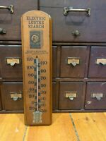 Electric Lustre Starch WOOD Advertising  THERMOMETER Boston MA Country Store