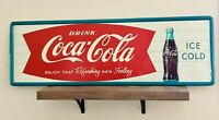 Vintage c.1960 Coca Cola Fishtail Metal Sign