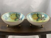 Nippon Nut Dishes Handpainted Three Footed Lemons Greens Gold Rim Set Of 2