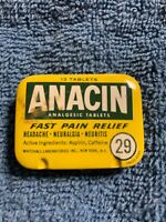 Vintage ANACIN Tin Fast Pain Relief w/12 Tablets approximately 1950's