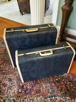 Vintage Samsonite Shwayder Bros. Hawaiian BlueBone 2-Piece Luggage Set